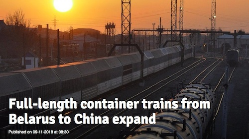 RailFreight.com. «Full-length container trains from Belarus to China expand»
